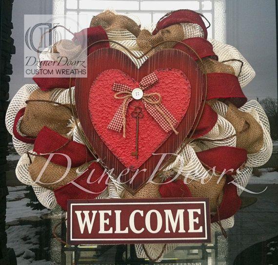 Key to my Hearth Welcome deco mesh Wreath by DzinerDoorz on Etsy, $90.00
