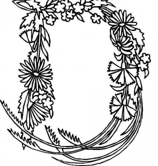 Letter D In Ribbon Flowering Shape Learning Alphabet Coloring Pages