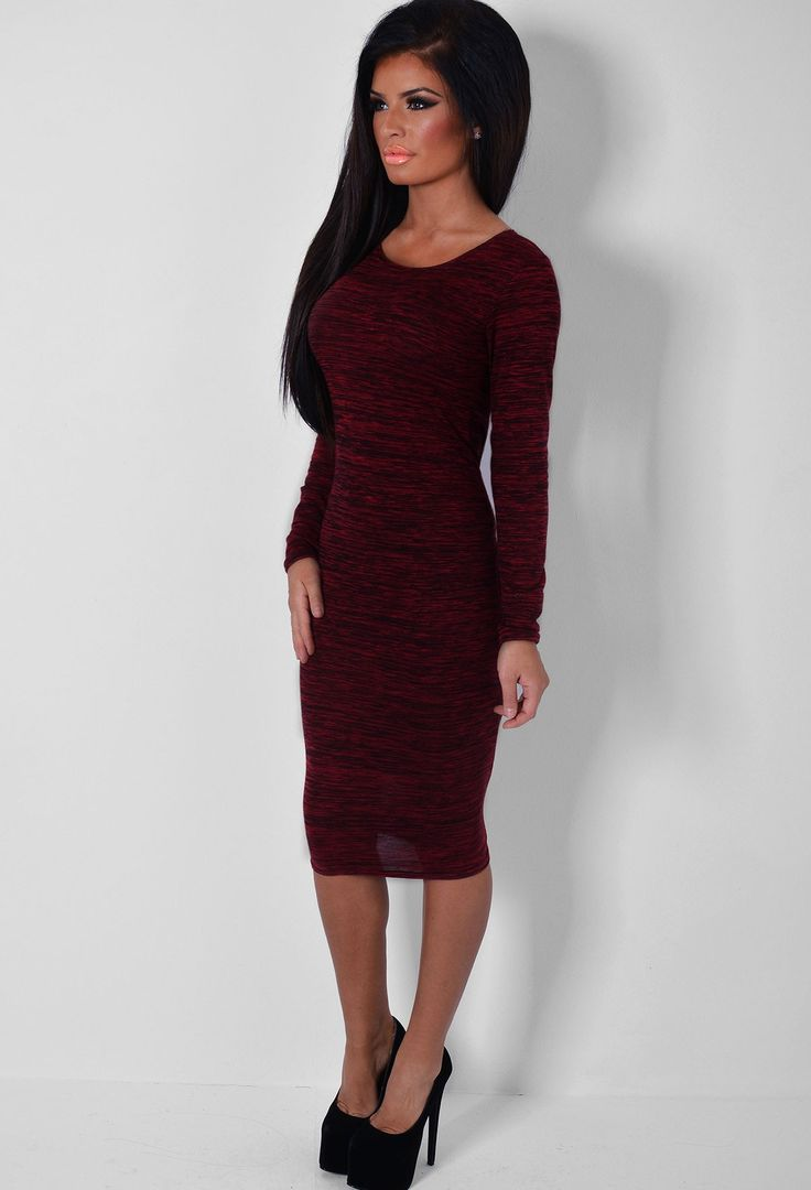Cento Wine Long Sleeved Midi Dress