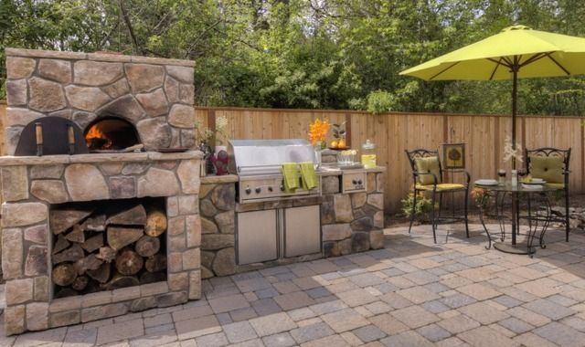 Outdoor Grill Area With Pizza Oven