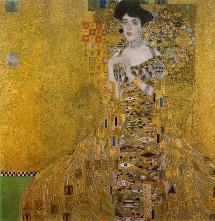 アデーレ・ブロッホ=バウアーⅠ  映画「黄金のアデーレ」を見て、その艶やかさと裏腹な暗い歴史を知りました。輝く金箔も重厚なものに見えてきます。NYの画廊でいつでも見られるそうなので、いつか本物を見たいです。