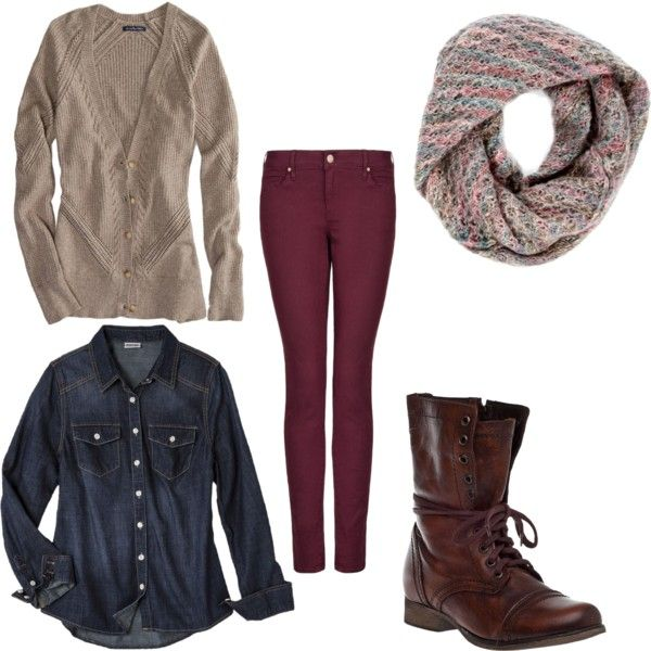 Neutral cardigan + chambray shirt + colored pants + boots + scarf = good winter or fall outfit.