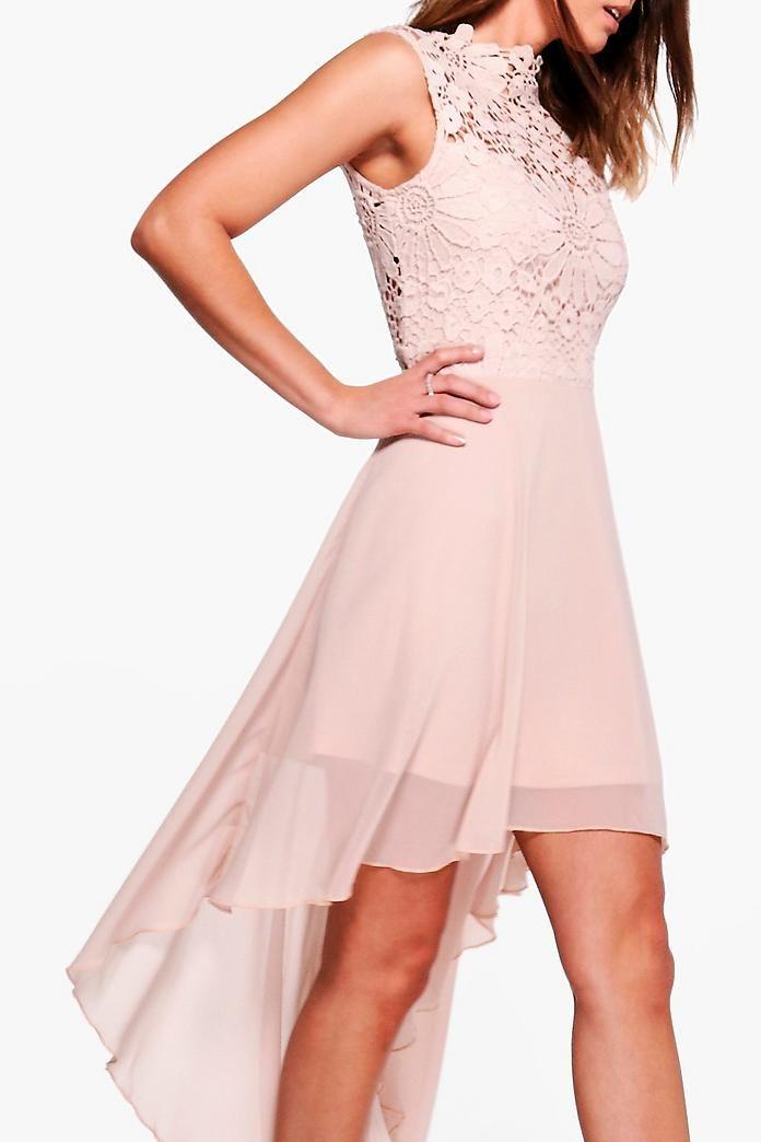 Boutique Lace Chiffon Dip Hem Bridesmaid Dress Boohoo Uk Dresses Bodycon Fashion Black Tie Wedding Guests