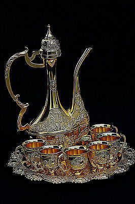 Turkish Islamic Gold Metal Coffee Tea Water Set Pot Cup Arabic Arabian RRP £150