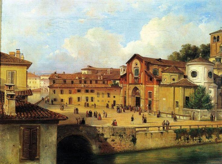 La piazza della Chiesa di San Marco, con la confluenza del laghetto colla fossa interna dei navigli, in un dipinto del 1835 di Luigi Bisi