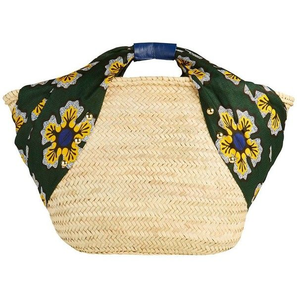 Giselle Women's Alice Bandana Sides Raffia Tote (1 255 SEK) ❤ liked on Polyvore featuring bags, handbags, tote bags, tote handbags, raffia beach bag, handbags totes, raffia tote handbags and strap purse