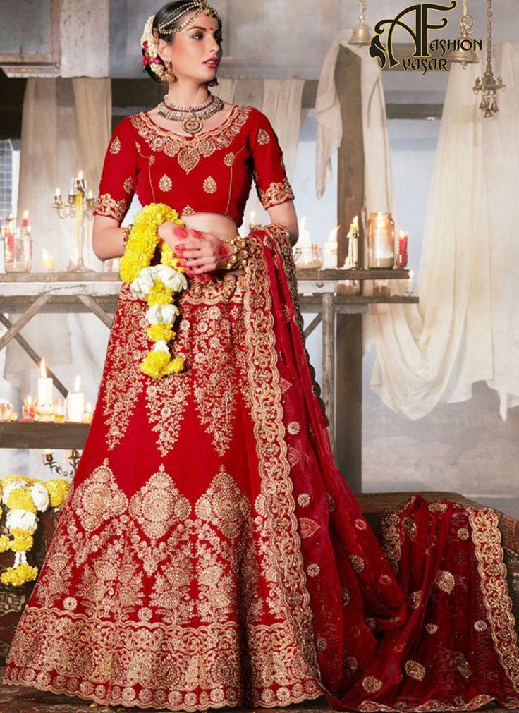 Latest Bridal Lehengas Red Velvet Indian Wedding