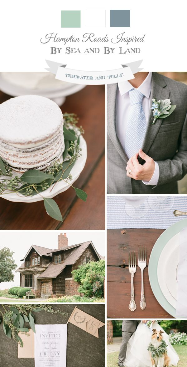 Soft Coastal Wedding Inspiration with grayed jade and dusty blue colors