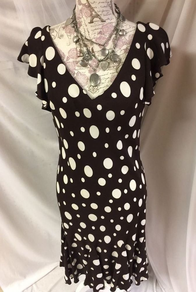 SL Fashions Brown White Polka Dot Stretch Women's Festive Dress 12 L #SLFashions #Stretch #casualCocktailWearToWorkFestive