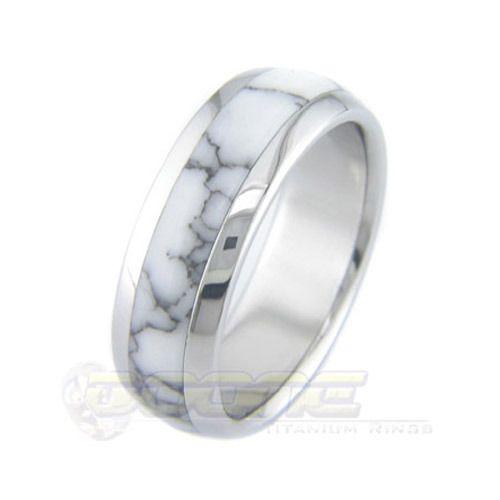 Marble Inlay Men's Wedding Ring   28 Unique Wedding Rings for Men