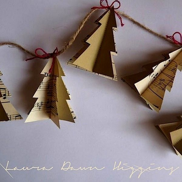 Christmas music paper trees, found on wabisabi-style.blogspot.se