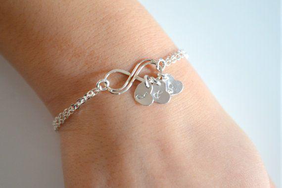 Personalized Infinity Bracelet Sterling Silver -- etsy, $32.00