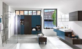 #German #contemporary #modern  #design  #white #Schmidt #barnet #london #wallmounted #blue #bathroom #furniture