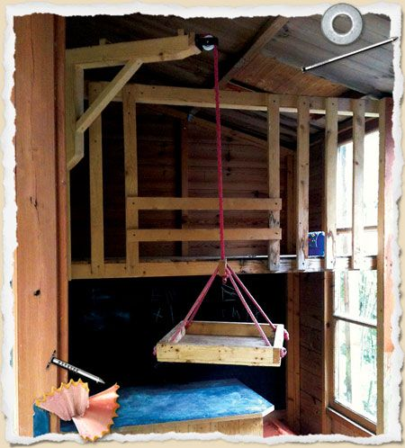 Garden shed hack with crane, trap door and roof platform ...