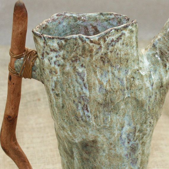 Ceramic Pitcher Stoneware Tree Trunk Pitcher With Wooden