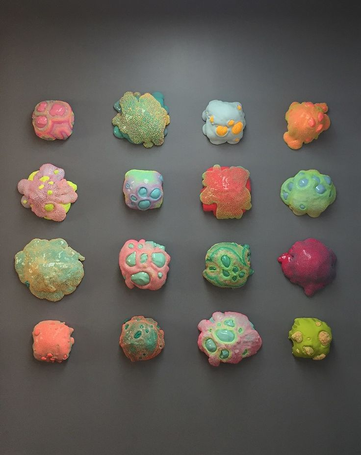 Manila-born Dan Lam's sculptures veer on mania with their neon, contrasting colors. Her latest series sculpts blob-like structures with skins of spike...