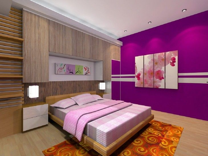 Bedroom Stylish Wondrous Purple Walls With Sweet Pink Painting And Cheerful Orange Carpet In Delightful Bedroom Interior Design - pictures, photos, images