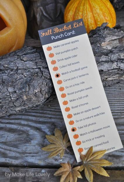 Fall Activities Bucket List Punch Card