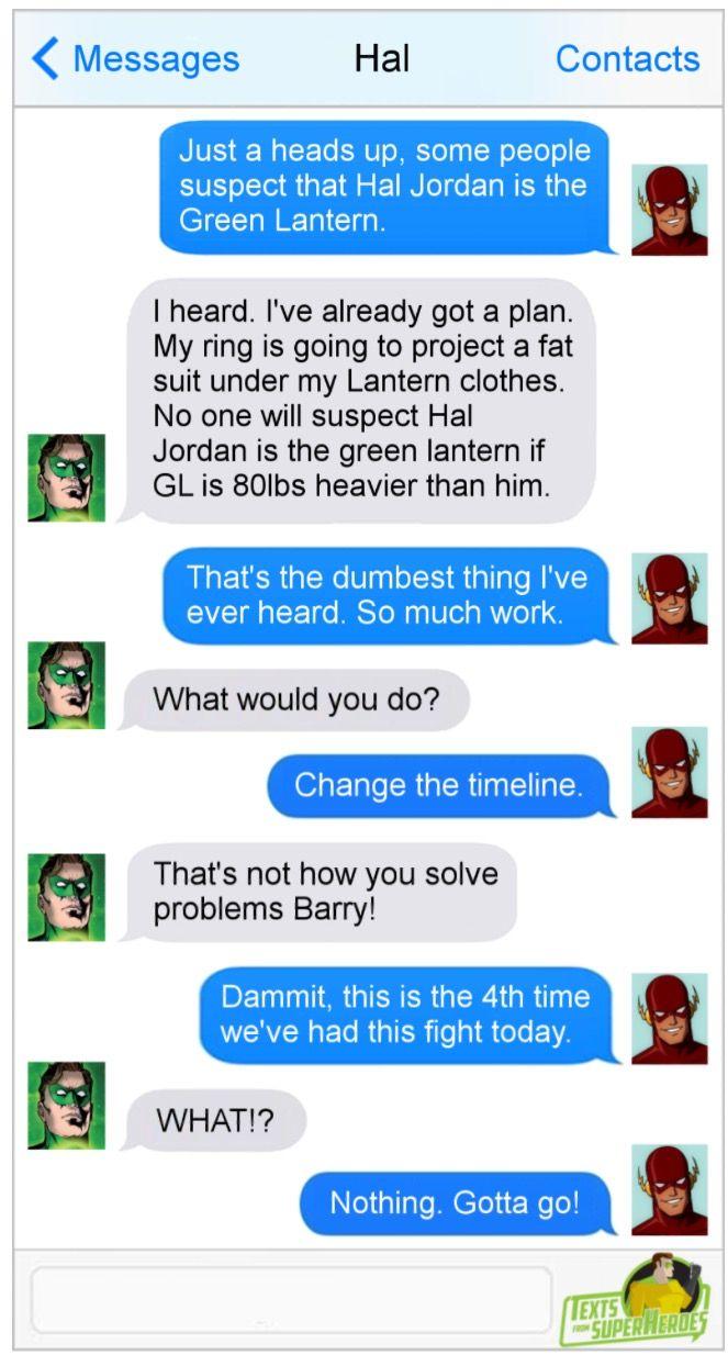 Texts from superheroes Flash/green lantern