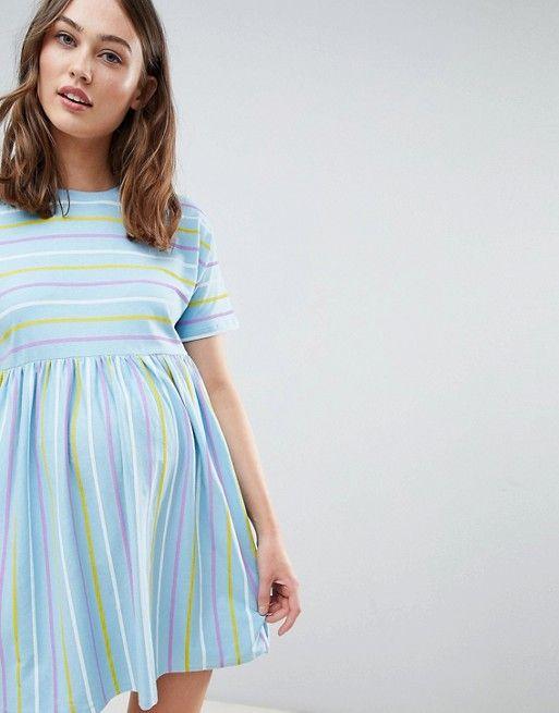 9ef4c1923af25 DESIGN Maternity smock dress in cut about stripe   Family   Dresses ...