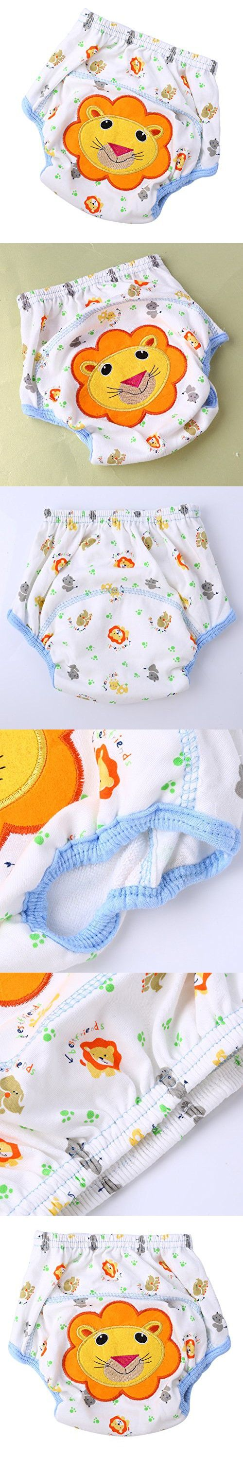 Easydeal Toddler Baby Cotton Cartoon Animal Waterproof Training Pants Kids Potty Diaper Nappy Underwear (100:Weight Advice-16kg, Lionet)