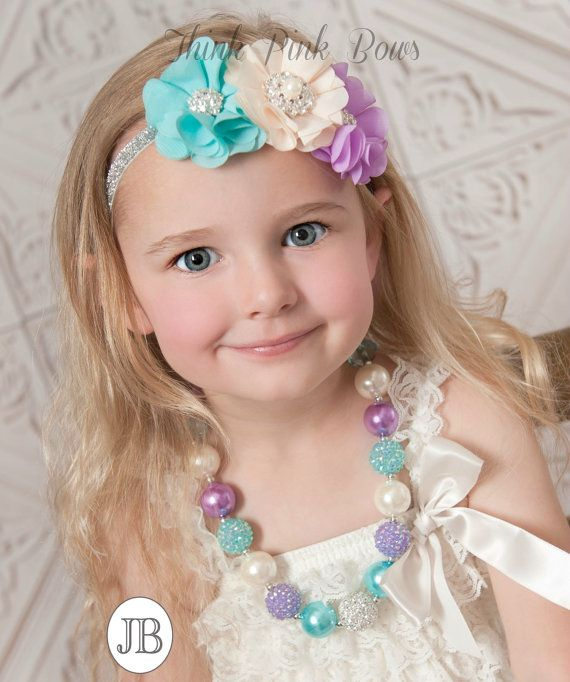 Girls Chunky Necklace and Baby Headband SET,Baby Headbands, Bubble Gum Necklace, Newborn Headband,  Toddler Headband, Baby Flower Headband