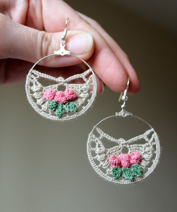 Hand Crochet Hoop Earrings, Jewelry, Linen Color, Rose, Green, Hand Crocheted Thin Cotton Lace, Spring, For Women, Easter, Mother's Day