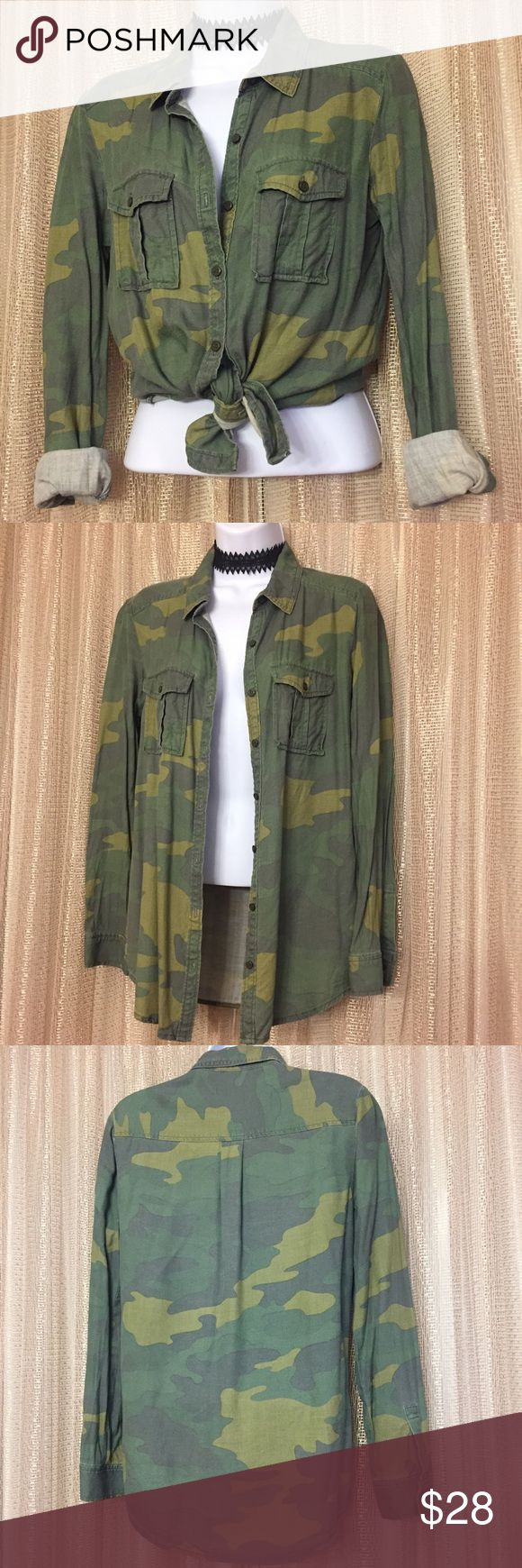 Rubbish Camo Shirt Great condition with no flaws see photos.  Bundle and save! Rubbish Tops Button Down Shirts