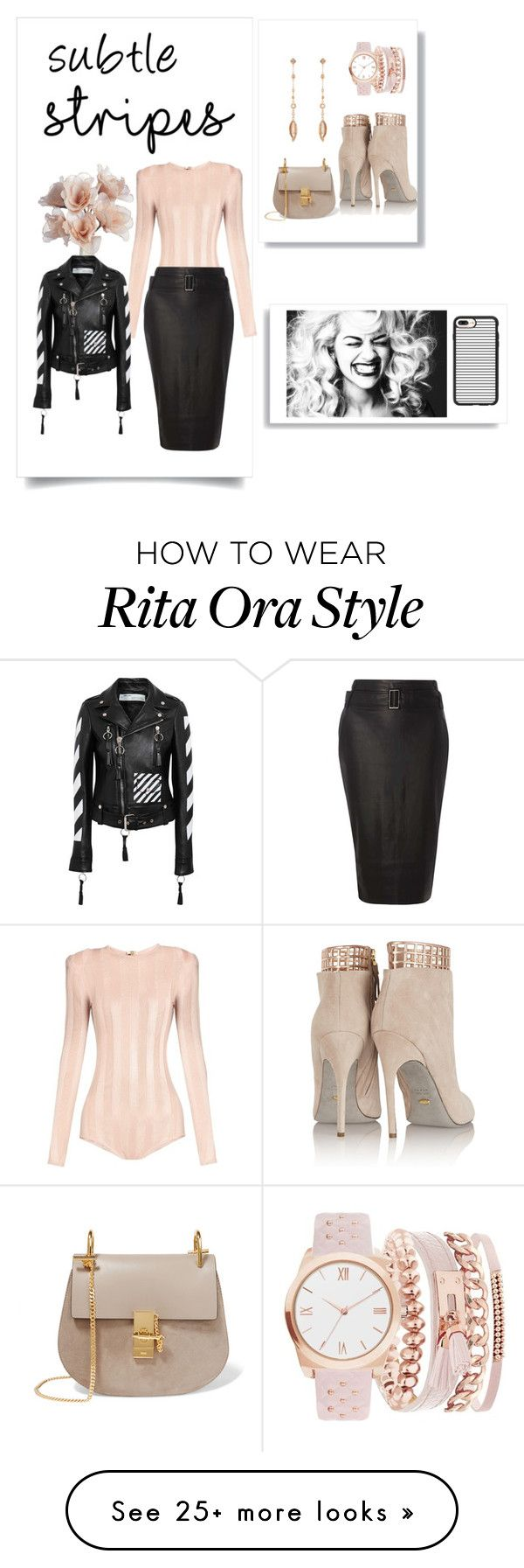 """""""striped divas"""" by jessicad110916 on Polyvore featuring Balmain, Dorothy Perkins, Kendra Scott, A.X.N.Y., Chloé, Sergio Rossi, Casetify and Off-White"""