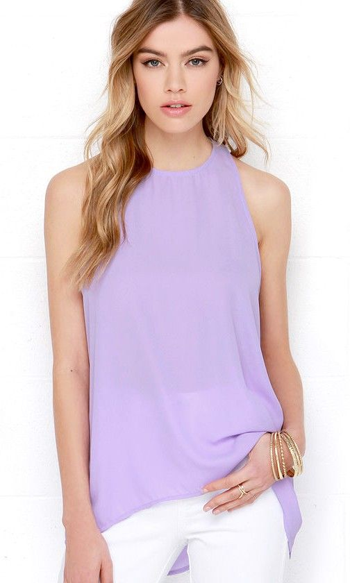 Caught In Candy Lavender Sleeveless Top - Very versatile for under suit, cardigan or as a solo.