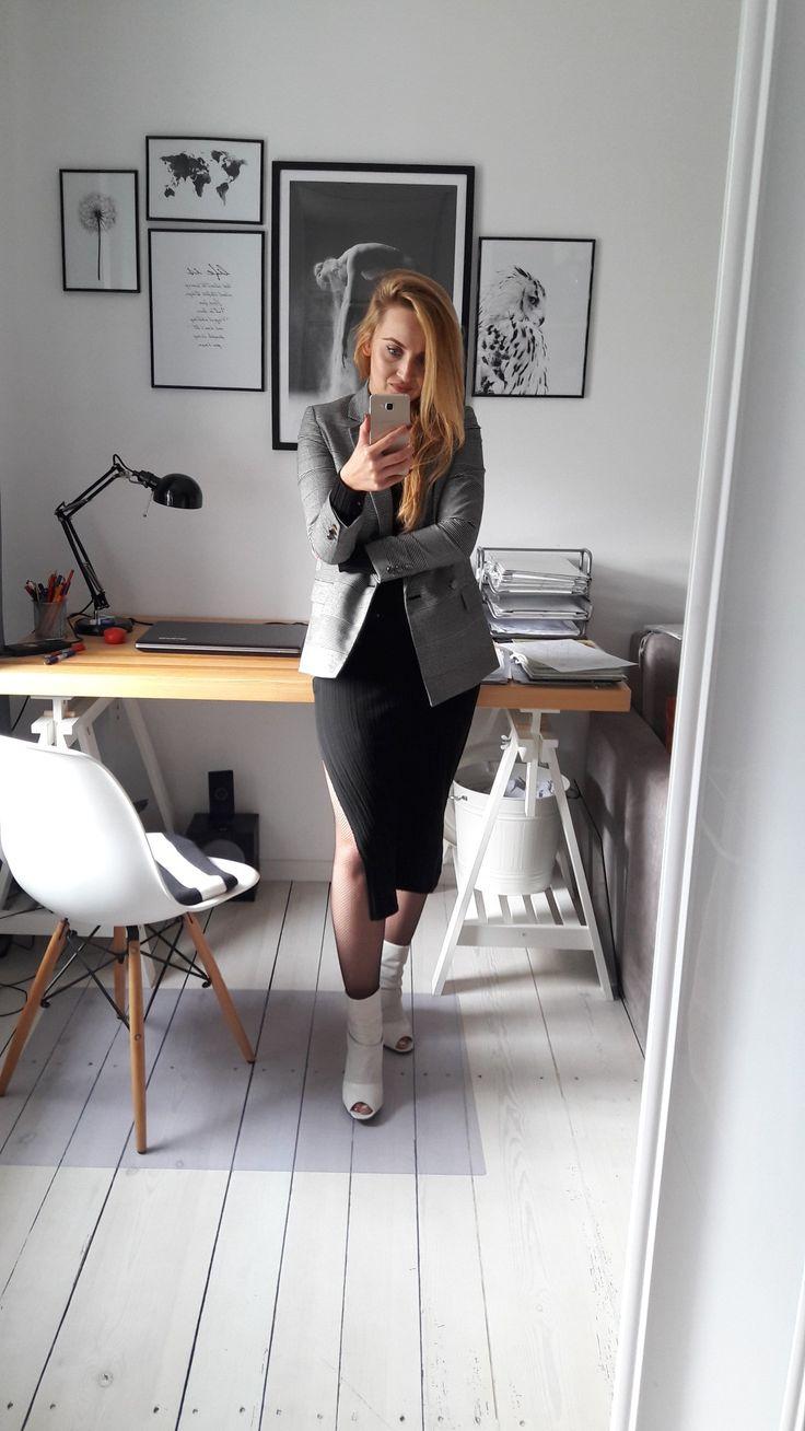Tartan jacket and midi dress