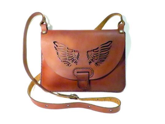 WINGS #2 25cm X 18cm CROSSBODY CLUTCH BAG Genuine leather, Laser cut, Hand stitched