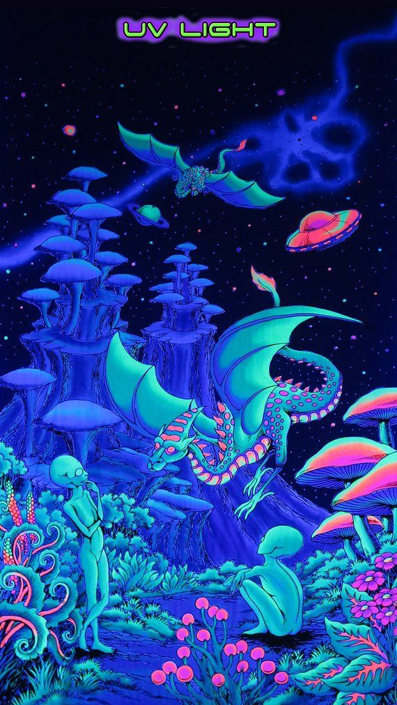 Trippy Wall Hanging Aliens And Dragons Fantasy Tapestry Trippy