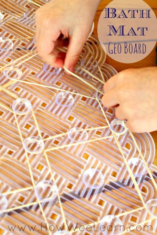 Simplest way to make a geoboard for preschoolers - so easy! Turn a bathmat upside down!