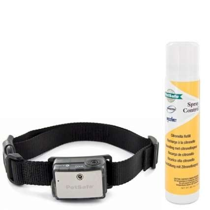 PetSafe Big Dog Citronella Bark Collar: $64.99.   Over 40 Sprays per Refill Unit  Good/Low Battery Indicator  Waterproof Perfect Bark Technology  Adjustable Nylon Collar  Operation Manual  One Year Warranty from manufacturer