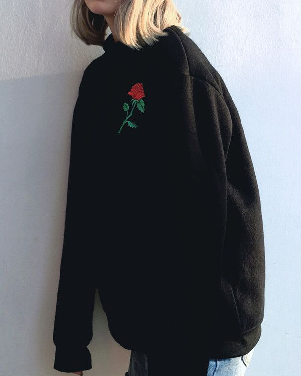 rose embroidered sweatshirt boogzel apparel free shipping