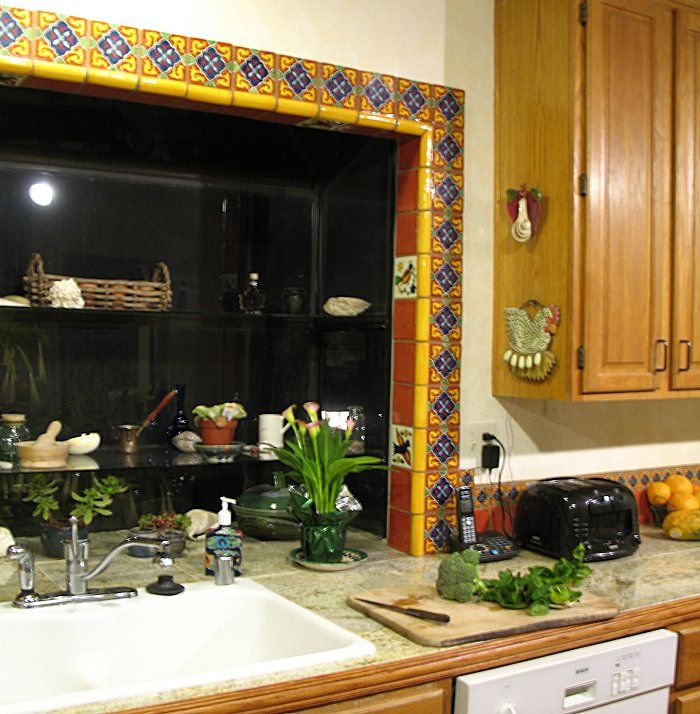 Mexican Kitchen: Mexican Tile Around A Window, Mexican Home Decor Gallery