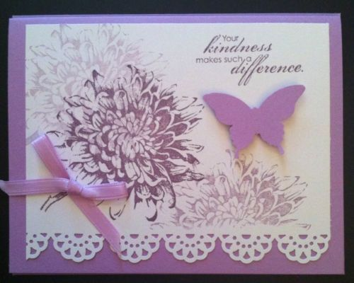 "Card Kit Set Of 4 ""Your Kindness"" Stampin Up Blooming In Plum With Lace Punch"