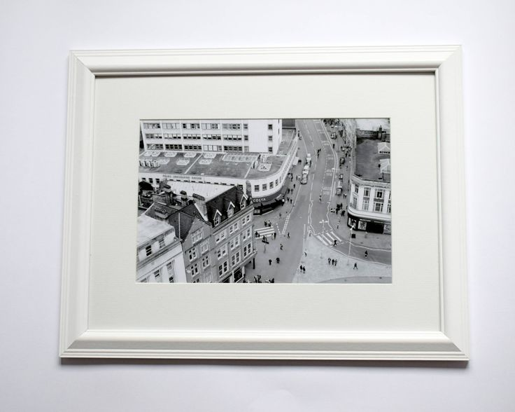 12x16 Framed Bird View Nottingham Black & White Print, Busy City, Street Photography, Vintage Look by ievaGallery on Etsy