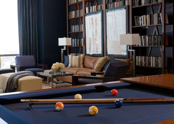 This Luxurious Library And Living Room Has Built In Wood Bookshelves To Match The Beautiful Pool Table A Masculine Game