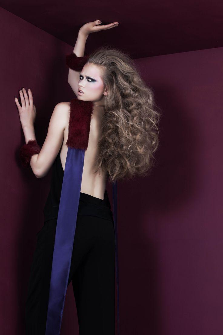 Purple silk scarf with burdeaux rabbit fur applique; Bordeaux rabbit fur cuffs with gold  elastic band // © MORECCO 2014