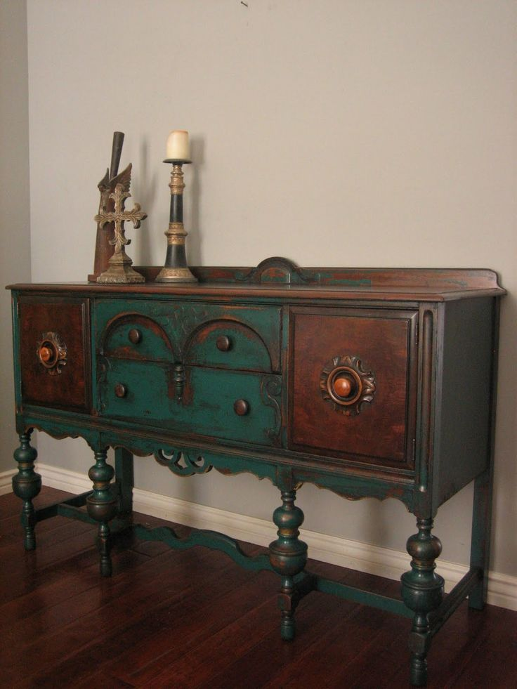 European Paint Finishes: Peacock Green Sideboard ~ great inspiration for wonderful paint job!