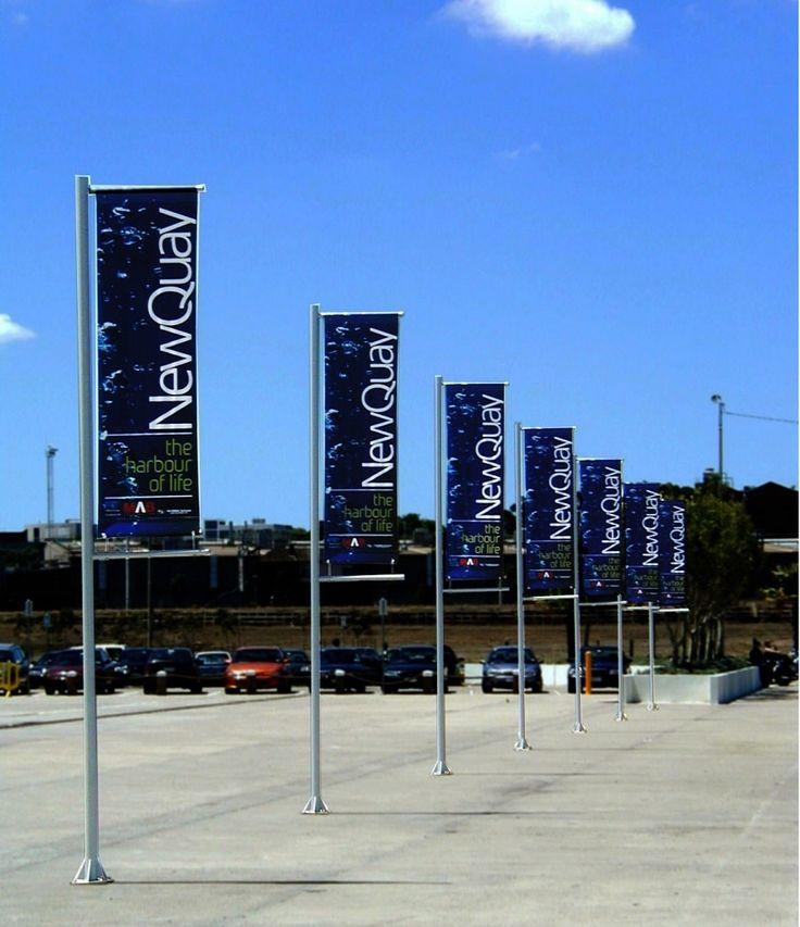 Vinyl banners on banner poles.