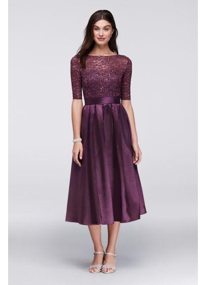 Lace and Satin Elbow-Sleeve Tea Length Dress WBM1121