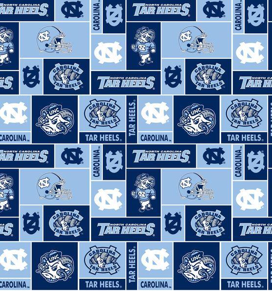"University of North Carolina Rameses Fleece Fabric 58""-Block"