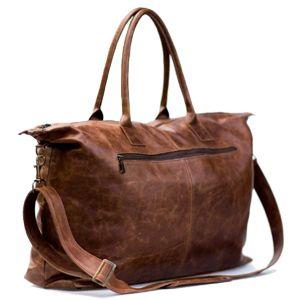 Leather travel bag.