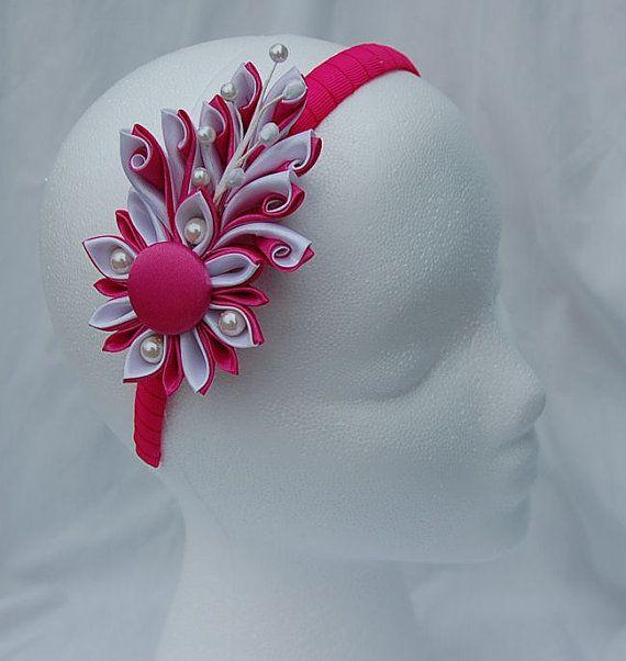 Kanzashi flower headband pink  and white by RoshelysBowtique, $10.00