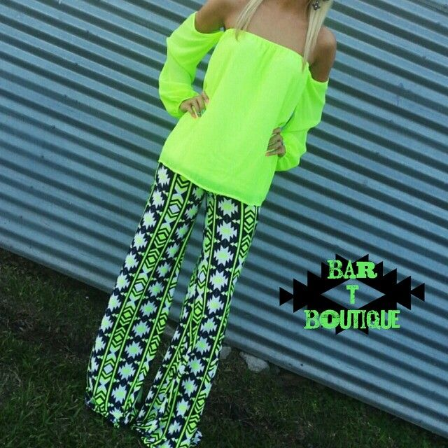 Neon Green Off the Shoulder Top $34 {Free Shipping} Neon Green Aztec Palazzo Pants $36 {Free Shipping} Purchase on instagram or Facebook Instagram: @bar_t_boutique