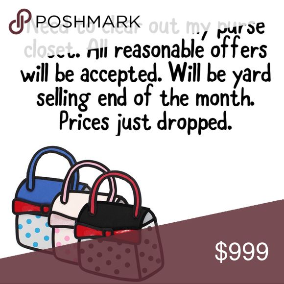 Purse clearance. Handbags, totes, purses All reasonable offers will be accepted. I ship within 1-2 days. Most purses are new with wrapping or partial wrap. (Only the brown croco coach purse is not new) need to liquidate. Can sell in bulk if interested as reselling. Bags Totes