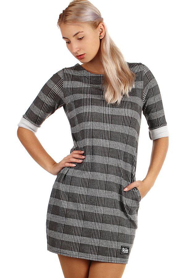 92282f2aafbd Dámské podzimní kostkované úpletové šaty s tříčtvrtečním rukávem - koupit  online na Glara.cz
